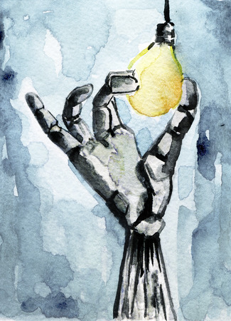 watercolor sketch of robot holding a lightbulb
