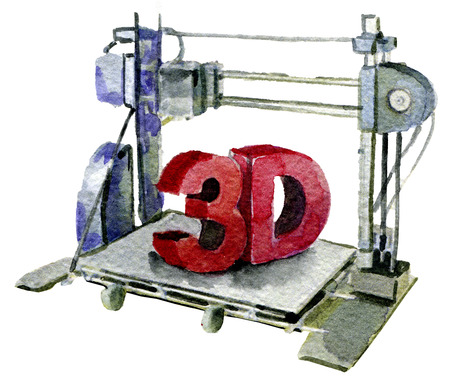 customizable: watercolor sketch of 3D printer on white background