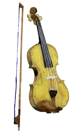 mozart: watercolor sketch of violin on white background Stock Photo