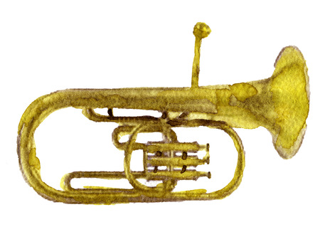 brassy: watercolor sketch of gold trumpet on white background Stock Photo