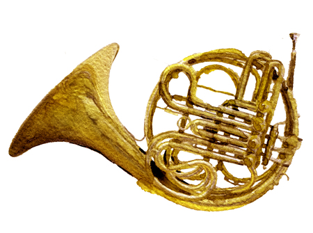 watercolor sketch of gold trumpet on white background Stock Photo