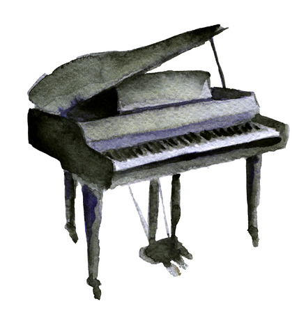 watercolor sketch of piano on white background