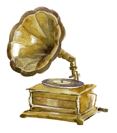 collectibles: watercolor sketch of antique phonograph on white background