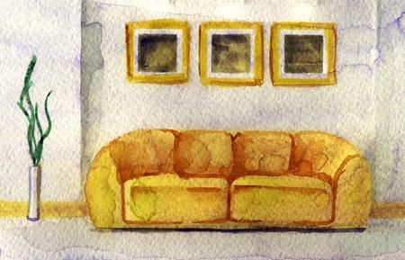 matrimonial: watercolor sketch of modern interior on white background Stock Photo