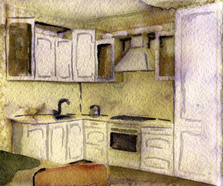 modern kitchen: watercolor sketch of modern kitchen on white background