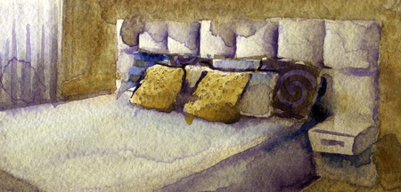 matrimonial: watercolor sketch of modern bedroom on white background Stock Photo