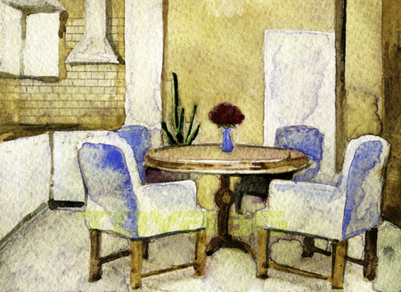 modern kitchen interior: watercolor sketch of modern kitchen interior