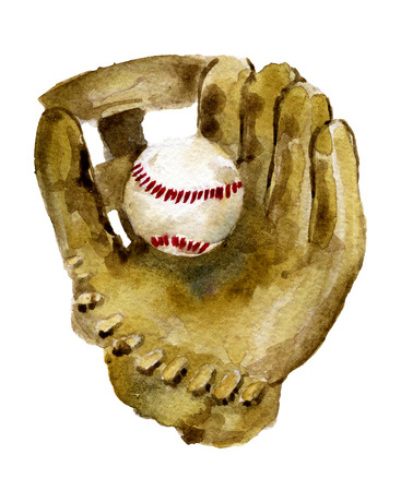 lacing: watercolor sketch of baseball glove and ball on white background