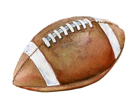 흰색 배경에 미국 축구 공의 수채화 스케치 스톡 콘텐츠
