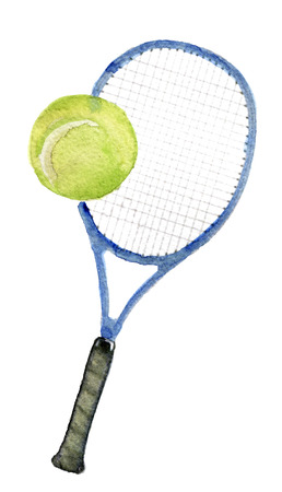 racquet: watercolor sketch of tennis racquet on white background