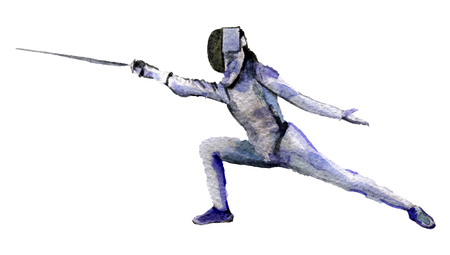 swordsman: watercolor sketch of swordsman on white background