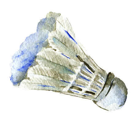 watercolor sketch of shuttlecock on white background