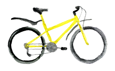 watercolor sketch of sport bicycle on white background Stock Photo