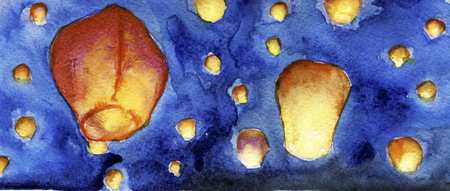 laterns: watercolor sketch of sky laterns in the sky Stock Photo