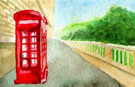 cabina telefonica: watercolor sketch of red phone booth