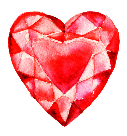 watercolor sketch of shiny diamond red heart on white background Stock Photo