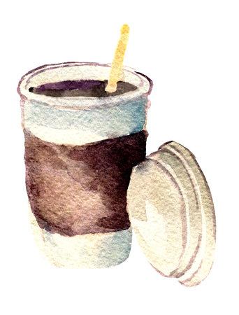 watercolor sketch of paper cup of coffee on white background Stock Photo