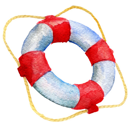 flotation: watercolor sketch of lifebuoy on white background Stock Photo