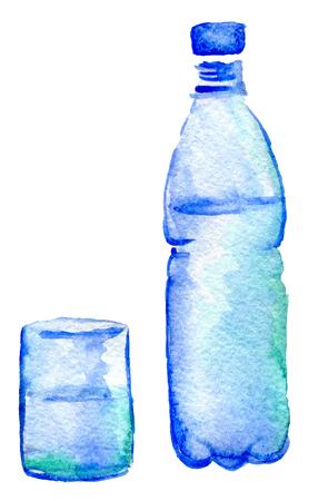 aquarel schets van fles water en glas op een witte achtergrond