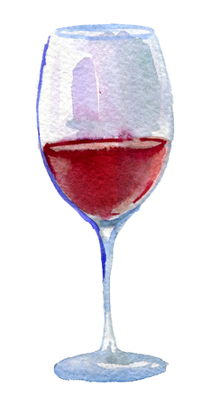 watercolor sketch of glass of vine on white background Stock Photo