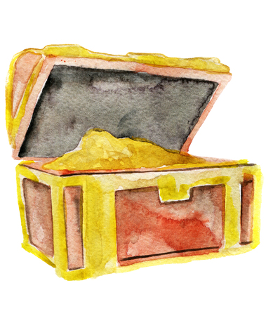 paint container: watercolor sketch of wooden chest on white background Stock Photo