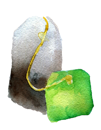 unused: watercolor sketch of tea bag on white background Stock Photo