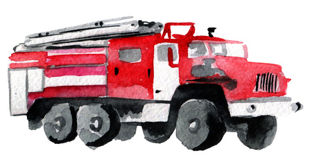 watercolor sketch of fire engine on white background Stock Photo