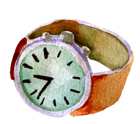 dialplate: watercolor sketch of wrist watch on white background
