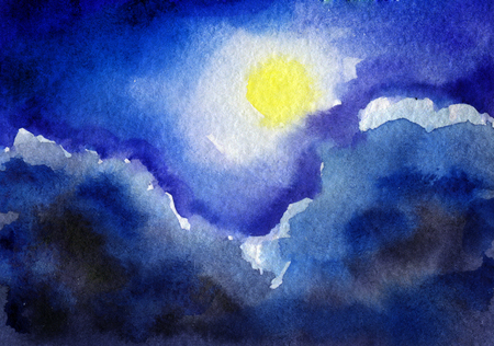 dramatic sky: watercolor sketch of beautiful night sky with moon
