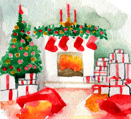 watercolor sketch of Christmas decoration on white background