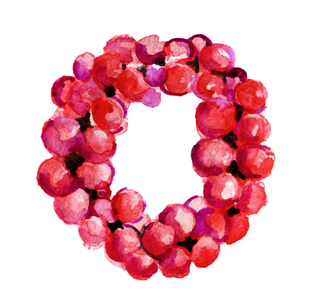 watercolor sketch of Christmas wreath on white background