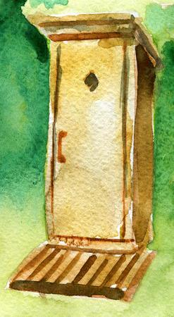 watercolor sketch of wooden toilet