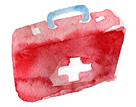 watercolor sketch of first aid kit on white background Stock Photo