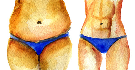 watercolor sketch of fat and slim torso on white background