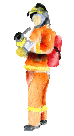 dangerous work: watercolor sketch of firefighter on white background Stock Photo