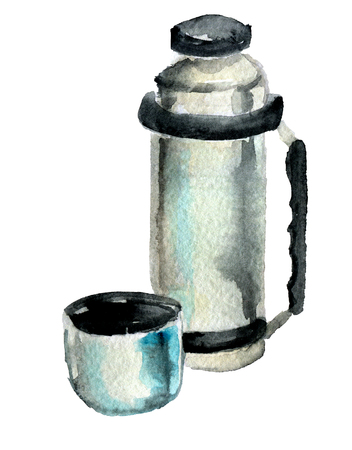 watercolor sketch of metal  vacuum flask on white background