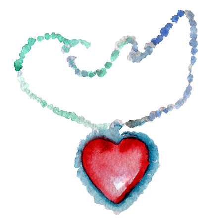 watercolor sketch of heart pendant on white background
