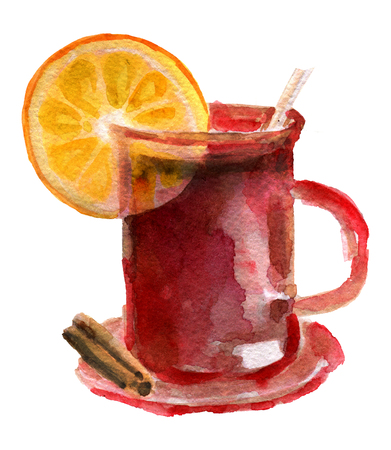 watercolor sketch of mulled wine on white background Stock Photo