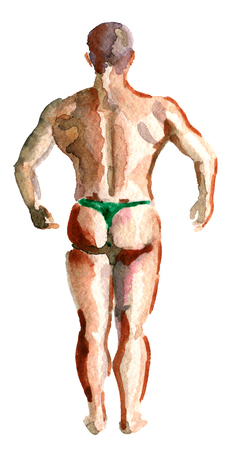 watercolor sketch of muscular athletic bodybuilder fitness model posing on the white background