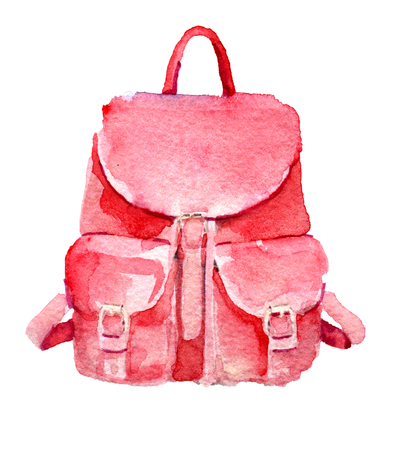 watercolor sketch of backpack on white background Stock Photo