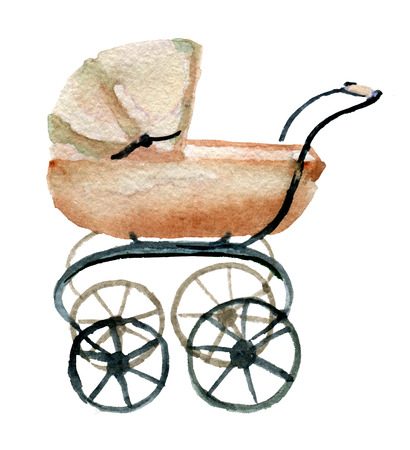 watercolor sketch of pram on white background