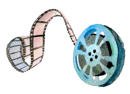 watercolor sketch of movie reel on white background Stock Photo