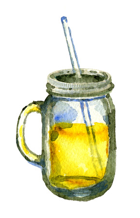 reamer: watercolor sketch of lemonade on white background