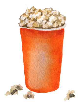 watercolor sketch of popcorn in red box white background Stock Photo