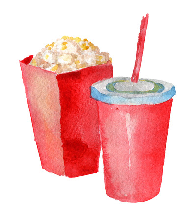 watercolor sketch of paper cups with drink and popcorn on white background Stock Photo