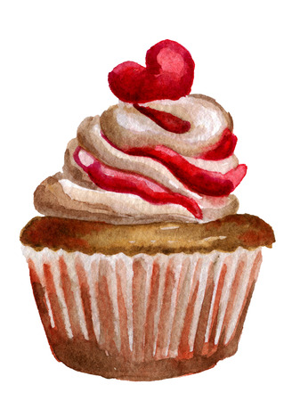 glace: watercolor sketch of cupcake with whipped cream and heart isolated on white background