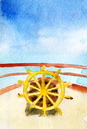 watercolor sketch of sheep steering wheel