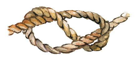 watercolor sketch of rope knot isolated on white background