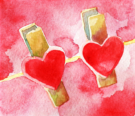 watercolor sketch of red hearts with clothespins hanging on clothesline  isolated on white background