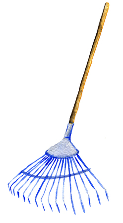 watercolor sketch of rake isolated on white background Stock Photo